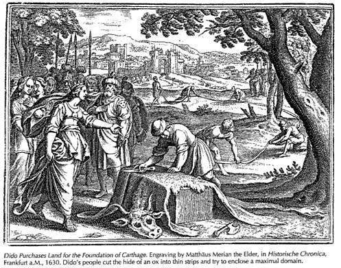 An engraving depicting Dido's oxhide swindle
