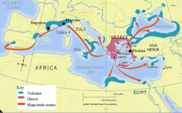 A Map of the Greek Colonies in the Mediterranean