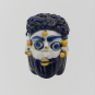 A core glass blue and white Punic head pendant