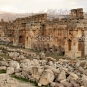 Ruins of The Great Court of the ancient Phoenician city of Baalbek
