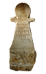 Votive stele shaped in the sign of Tanit depicting a bottle on an altar with a dedication to the gods